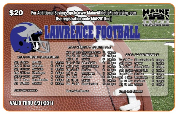Lawrence Football Fundraiser 2010 Premium Gold Card